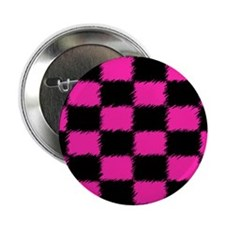 """Hot Pink & Black Checkered 2.25"""" Button (10 pack)"""