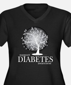 Diabetes Tree Women's Plus Size V-Neck Dark T-Shir