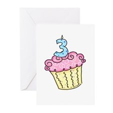 3rd Birthday Cupcake Greeting Cards (Pk of 10)