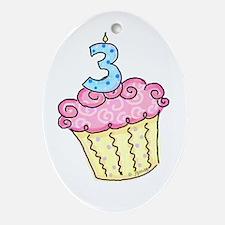 3rd Birthday Cupcake Oval Ornament