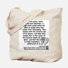 Black Elk Spirit Quote Tote Bag