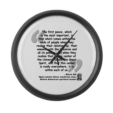 Black Elk Spirit Quote Large Wall Clock