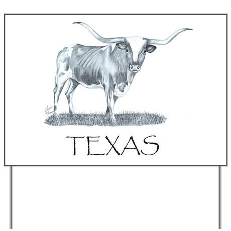 Texas Longhorn Yard Sign