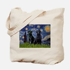 Starry Night & Black Labrado Tote Bag