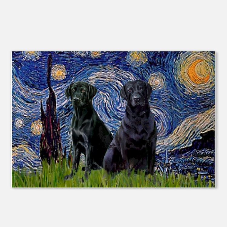 Starry Night & Black Labrado Postcards (Package o