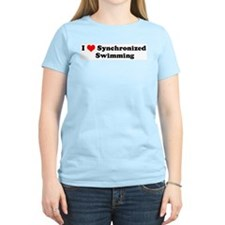 I Love Synchronized Swimming Women's Pink T-Shirt
