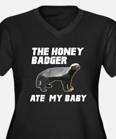 The Honey Badger Ate My Baby Women's Plus Size V-N