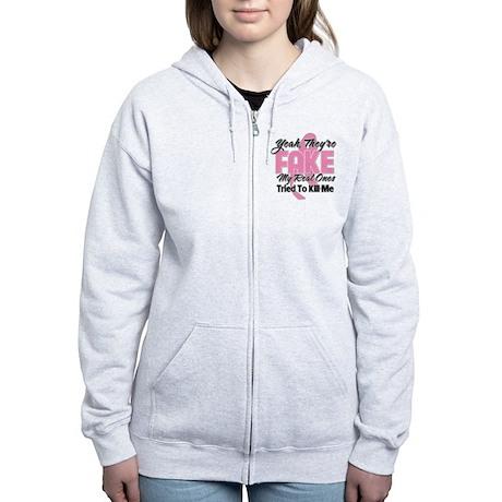 Fake Breast Cancer Women's Zip Hoodie