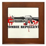 Zombie Repellent Dark Shirts Framed Tile