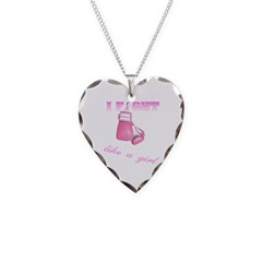 I fight Like a Girl Breast Ca Necklace Heart Charm