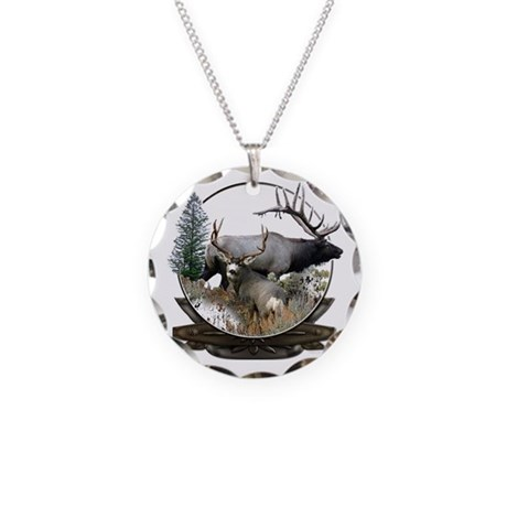 Big Game Elk and Deer Necklace Circle Charm