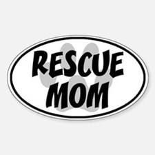 Rescue Mom White Oval Decal