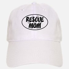 Rescue Mom White Oval Baseball Baseball Cap