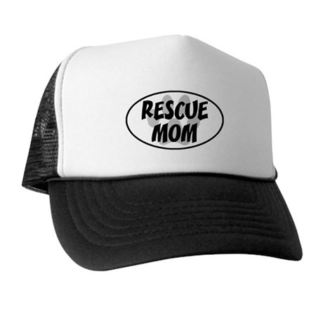 Rescue Mom White Oval Trucker Hat