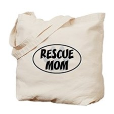 Rescue Mom White Oval Tote Bag