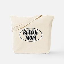 Rescue Mom White Oval Tote Bag
