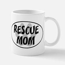 Rescue Mom White Oval Mug