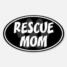 Rescue Mom Black Oval Decal