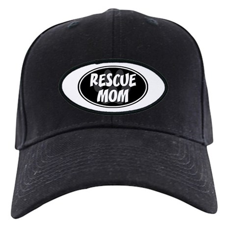 Rescue Mom Black Oval Black Cap