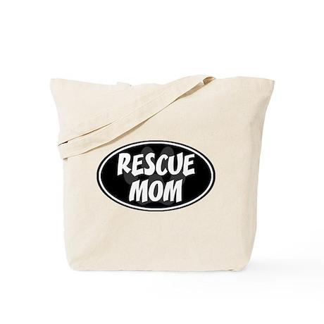 Rescue Mom Black Oval Tote Bag
