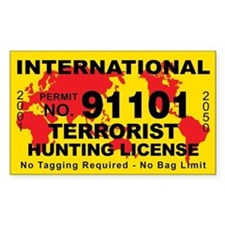 International Terrorist Hunting License Sticker St