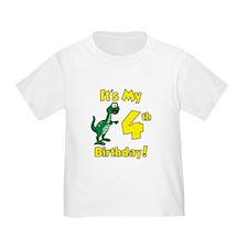 Dinosaur 4th Birthday Shirt T