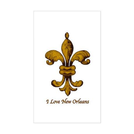 I love New Orleans - gold Fleur de lis Sticker (Re