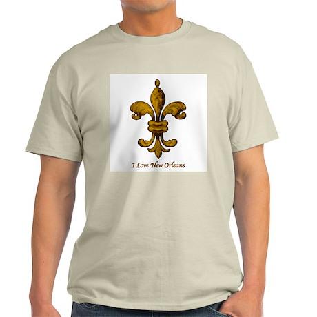I love New Orleans - gold Fleur de lis Ash Grey T-