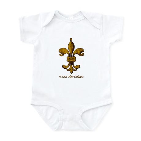 I love New Orleans - gold Fleur de lis Infant Cree