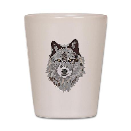Stylized Grey Wolf Shot Glass