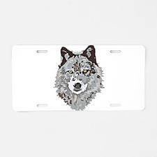 Stylized Grey Wolf Aluminum License Plate