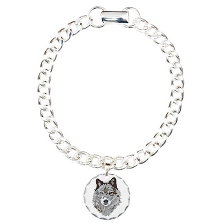 Stylized Grey Wolf Charm Bracelet, One Charm