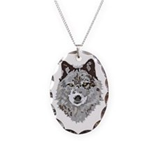 Stylized Grey Wolf Necklace