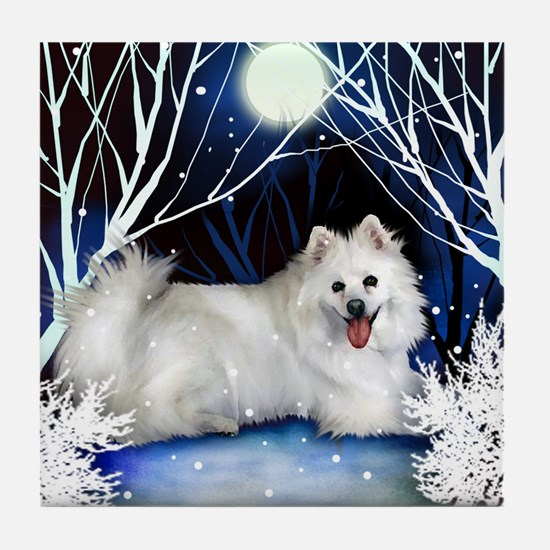 AMERICAN ESKIMO DOG WINTER Tile Coaster