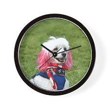 Patriotic poodle Wall Clock