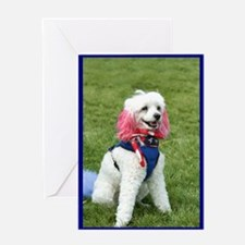 Patriotic poodle Greeting Card