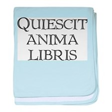 """""""Quiescit Anima Libris"""" baby blanket"""