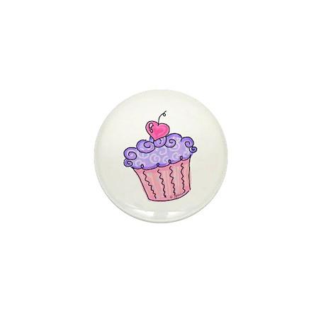 Cupcake w/cherry (purple) Mini Button (10 pack)