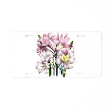 Vintage Pink Lily Aluminum License Plate
