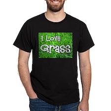 I Love Grass Black T-Shirt