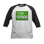 I Love Grass Kids Baseball Jersey