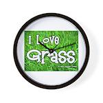 I Love Grass Wall Clock