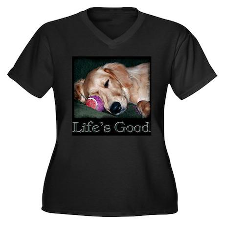 Life is Good Women's Plus Size V-Neck Dark T-Shirt