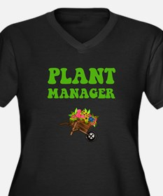Plant Manager Women's Plus Size V-Neck Dark T-Shir