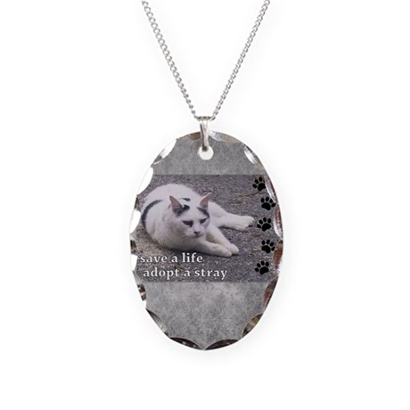 Adopt a Stray Necklace Oval Charm
