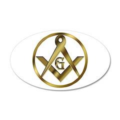 Masonic Vinyl Circle 20x12 Oval Wall Peel