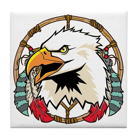 Eagle Dream Catcher Tile Coaster