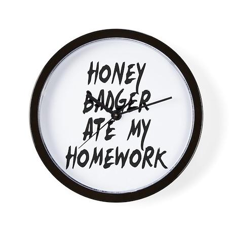 Honey Badger Ate My Homework Wall Clock