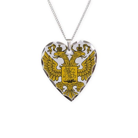 Eagle Coat of Arms Necklace Heart Charm