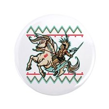"""Indian Warrior on Horse 3.5"""" Button"""
